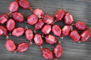 Image of Pretty Barrel Paper Bead Necklaces-Variety of Colors!