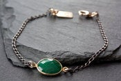 Image of Simple Gemstone Bracelet- mixed metal