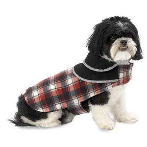 Image of Manchester Fleece Dog Coat - Red Plaid