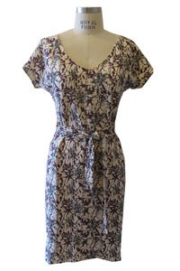 Image of T-shirt Tie Dress in Abstract Floral Burgandy Print