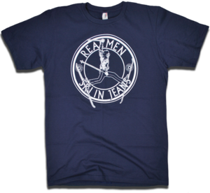 Image of &quot;Real Men Ski In Jeans&quot; tee by Backpage Press