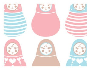 Image of POWDERPUFF BLUE & PEONY PINK BABUSHKA DOLLS