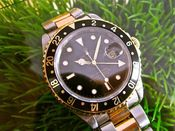 Image of VINTAGE ROLEX GMT MASTER II 18K and SS w/BOX AND PAPERS