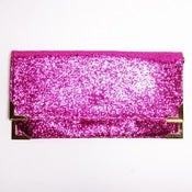 Image of Pink Glitter Fold Clutch