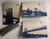 Image of NYC Lover's Bridges set of 3 note cards