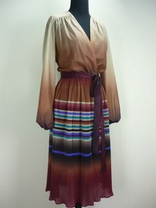 Image of 70s sheer ombr striped dress
