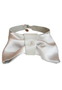Image of Ivory leather and silk bow collar + colors