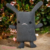 "Image of Flat Bonnie Bunny Plush - Charcoal Gray (Classic 12"") Handmade"