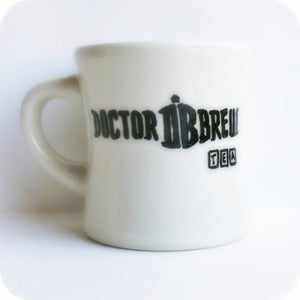 Image of Funny coffee mug tea cup ceramic Doctor Who Brew black white hand painted