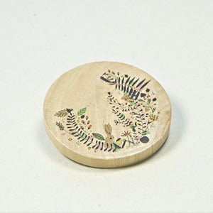 Image of Illustrated wooden brooch - Botanical