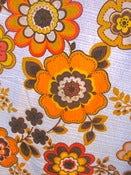 Image of Vintage 1970s Groovy Orange Flower Curtains
