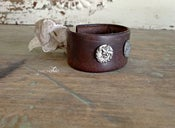 Image of Vintage Leather Cuff with Antique Buttons & Lace Tie