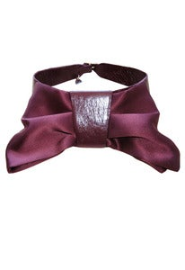 Image of Wine leather and silk bow collar + colors