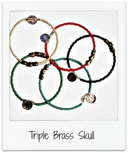 Image of Triple Brass Skull Bracelet