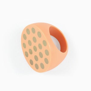 Image of Polka Dot Statement Ring | Milky Peach + Golden