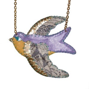 Image of Lemon and Lilac Swallow Necklace