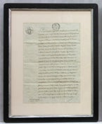 Image of Custom framed antique French document, one of a kind (V)