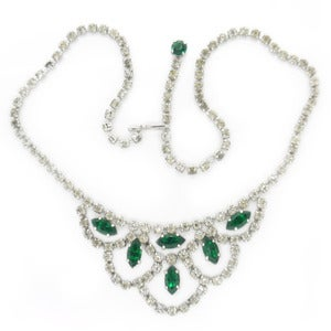Image of Vintage Green & White Diamante Rhinestone Paste Glittering Necklace