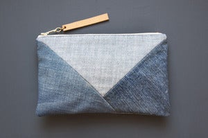 Image of DENIM Patchwork Clutch