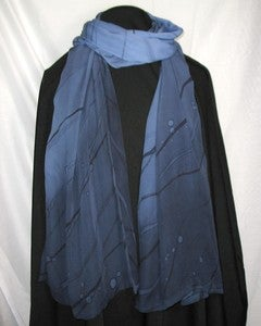 "Image of Periwinkle blue ""Water Under Ice"" design scarf/shawl"