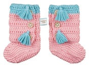 Image of Crochet Pink Booties 0-6 months