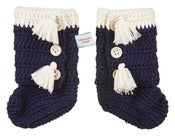 Image of Crochet Navy booties 0-6 months
