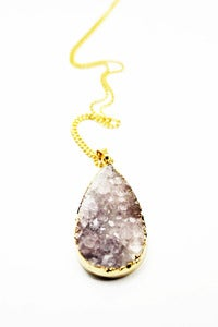 Image of NEW IN! TEARDROP Semi- Precious Amethyst Pendant Necklace