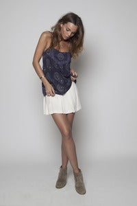Image of Blue Graph Cami with Lace Detail