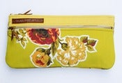 Image of -S O L D- a double zip clutch in chartreuse with vintage floral appliques (b)