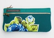 Image of a double zip clutch in deep teal with vintage floral appliques (a)
