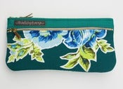 Image of a double zip clutch in deep teal with vintage floral appliques (c)