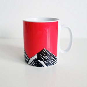 Image of Red lino print design mug