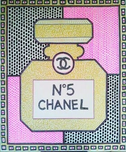 "Image of ""Pink Chanel No. 5 "" mixed media on canvas By Milo"