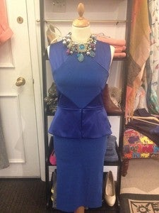 Image of Tempest Kate Cobalt Blue Peplum Waist Cut-out Back Dress