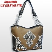 Image of RHINESTONE STUD CROSS HANDBAG