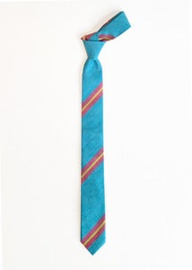Image of teal + red stripe tie