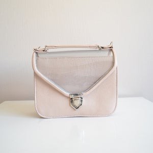 Image of Mady duo leather and clear plastic top crossbody strap bag