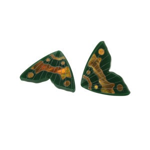 Image of Monarch Inlay Studs / Forest green with gold inlay