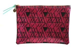 Image of Clutch- Raspberry Leather with Black Diamonds