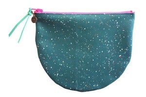 Image of Clamshell Pouch- Teal Leather with White and Pink Galaxy Pattern
