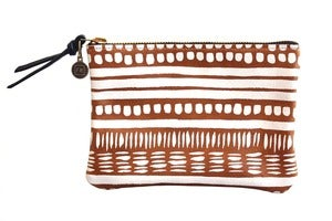Image of Wallet Pouch- Brown Leather with White Dash Pattern