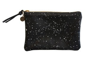 Image of Wallet Pouch- Black Leather with White Galaxy Pattern