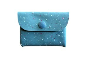 Image of Card Holder- Blue Leather with Pink and Blue Galaxy Pattern