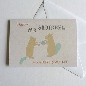 Image of Squirrel Drinking Greeting Card