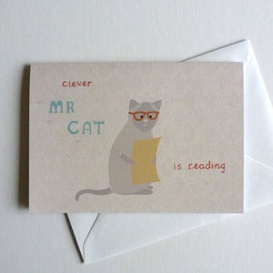 Image of Cat Reading Greeting Card