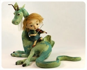 Image of SOLD! ~ Fiddler &amp; Friend ~ Dragon Sculpture by Martin Obakke