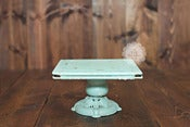Image of Robin's Egg Blue Cake Stand - Square - Aqua Light Blue - Cake Smash