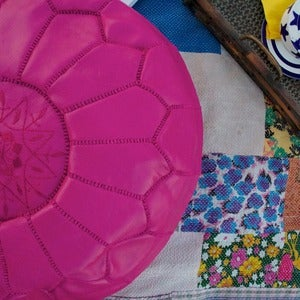 Image of Hot Pink Moroccan Leather Ottoman