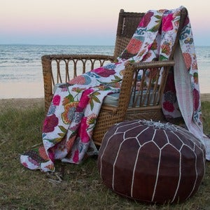 Image of Kantha Tropicana White Quilt