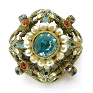Image of Vintage Victorian Enamel Pearl Gilt Ornate Pin Brooch